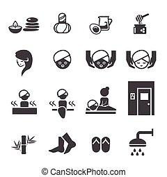 spa, ensemble, icônes
