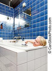 spa, femme, bain