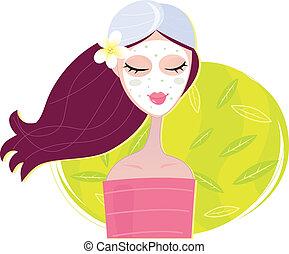 spa, girl, masque, régénération, facial
