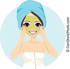 spa, masque, traitement, facial