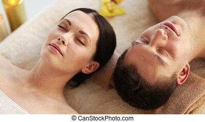 spa, salon, couple, délassant, heureux