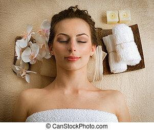 spa, salon, femme, beauté