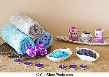 spa, sel, coloré, mer, composition