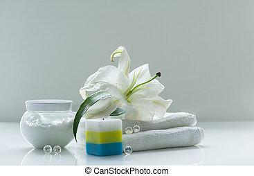 spa, vie, encore, lis, blanc