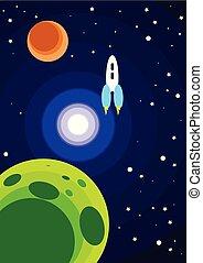 space., illustration, vecteur, dessin animé, fusée