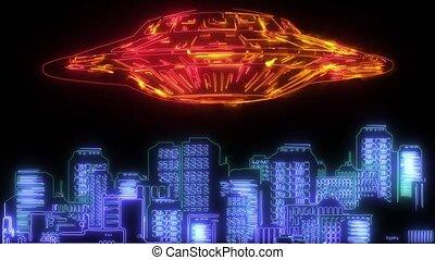 spaceships, puissant, sur, compisting, étranger, invasion, simulates, ville, vidéo
