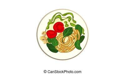 spaghetti, icône, épinards, animation
