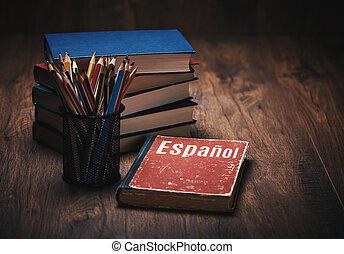 spanish., bois, apprendre, livre, table