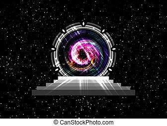 spatial, bleu, sombre, concept, temps, extraterrestre, teleportation, construction, galaxie, noir, icône, trou, portal., stargate, machine, arrière-plan., sucer, étranger, isoler, entrée