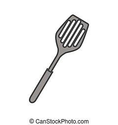 spatule, outillage, cuisine, isolé, icône