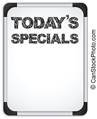 specials, whiteboard, craie, écrit, today's, message