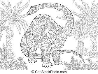 species., brontosaure, dinosaur., éteint