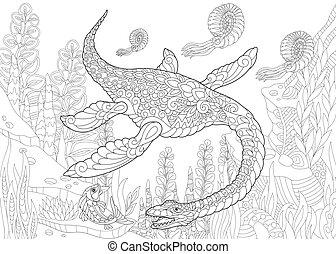 species., dinosaur., éteint, plesiosaurus