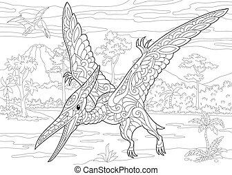 species., pterodactyl, dinosaur., éteint
