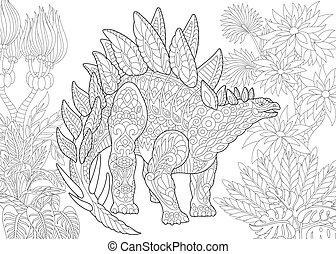 species., stegosaurus, dinosaur., éteint