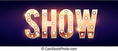 spectacle léger, ampoules, or, vendange, signe, fireworks., retro, étoiles, signe.