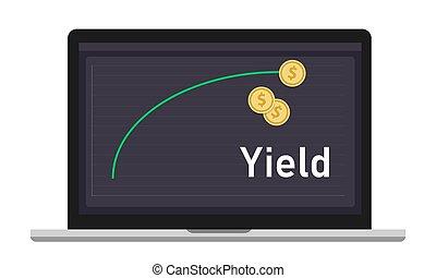 spectacles, courbe, période, revenus, monnaie, rendement, ordinateur portable, sur, investissement, time., particulier, engendré, graphique, argent