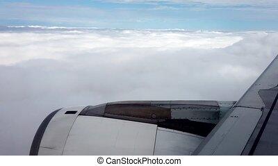 spectacles, fenêtre, avion, vue, percer, nuages, moteur