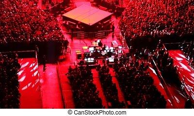 spectateurs, concert, lumière, dj, salle, rouges, panneau
