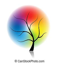 spectral, art, arbre, couleurs, conception, ton