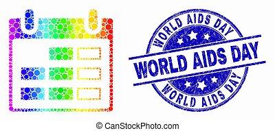 spectral, gratté, mondiale, timbre, pixel, vecteur, cachet, aides, calendrier, page, jour, icône