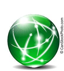 sphère, balle, vert, communication