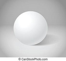 sphère, blanc, scène, gris