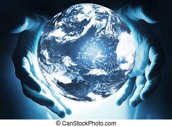 sphère, la terre, incandescent, mains