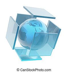 sphère, la terre, verre