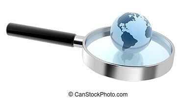 sphère, main, la terre, lentille