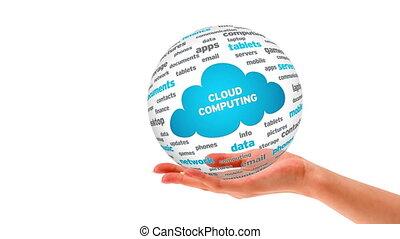 sphère, mot, nuage, calculer