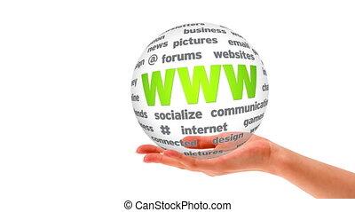 sphère, mot, toile, large, mondiale