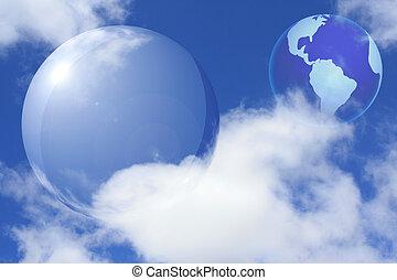 sphère, transparent, la terre, collage