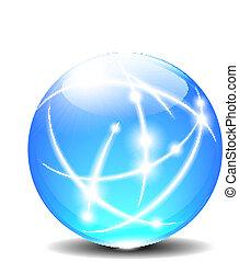 sphères, balle, lignes, communication