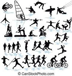 spiel, und, sport