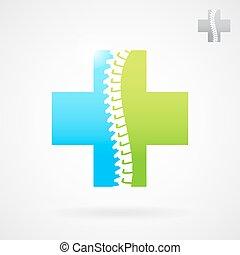 spinal, logo, signe, centre, clinique