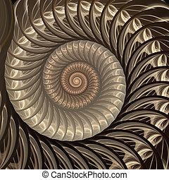 spiral., résumé, coquille, fractal, fond