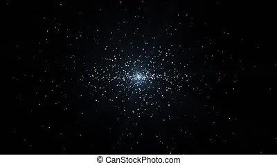 spirale, étoiles, en mouvement, infini, 4k, extérieur, boucle, centre, espace, scénique, animation., voyage, galaxie