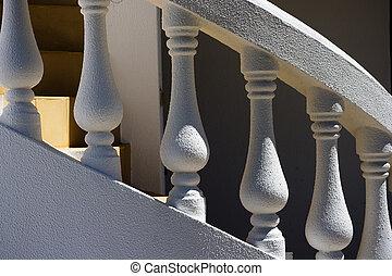 spirale, air, dehors, frais, blanc, escalier