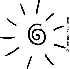 spirale, arrière-plan., soleil, handdrawn, forme, vecteur, griffonnage, rayon, textured, noir, ligne, lumière, blanc