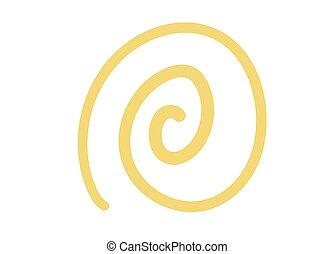 spirale, arrière-plan., soleil, vecteur, handdrawn, griffonnage, textured, ligne, jaune, blanc