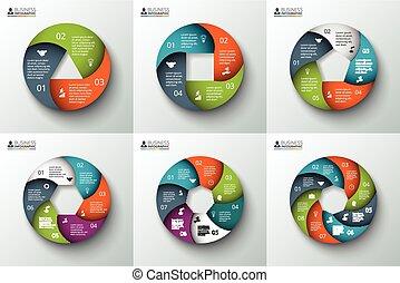 spirale, infographic., vecteur, cercle, élément
