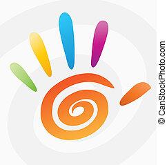spirale, résumé, vecteur, coloré, main