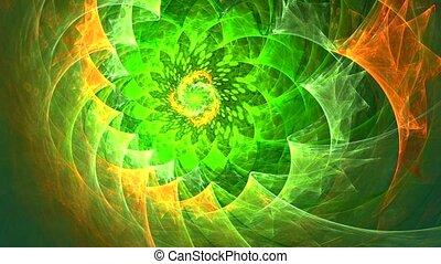 spirale, vert, fond foncé, motifs