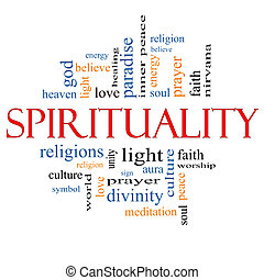 spiritualité, concept, mot, nuage