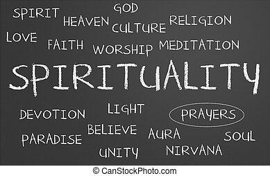 spiritualité, mot, nuage