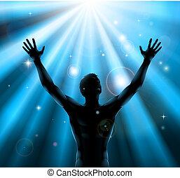 spirituel, concept, élevé, haut, bras, homme