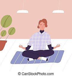 spirituel, mindfulness, bureau, meditating., jambes, croix, méditation, business, work., jeune, fermé, technique, plat, yeux, coloré, séance, pratique, relaxation, dessin animé, homme, illustration., vecteur