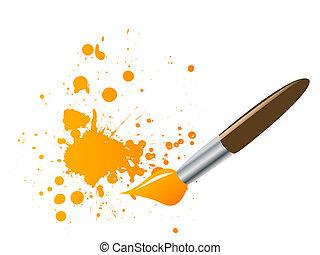 splats, pinceau, encre