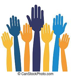 spontanéité, ou, voting., mains